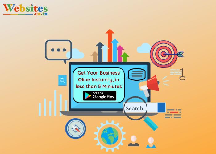 create a website through instant website builder: Websites.co.in app